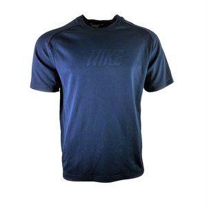 VTG Nike Men's Navy Spellout Athletic Tee Sz L